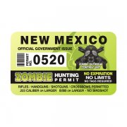 "New Mexico Zombie Hunting Permit 4"" Sticker Decal"