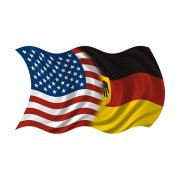 American German Waving Flag Decal USA Germany Car Vinyl Sticker (RH)