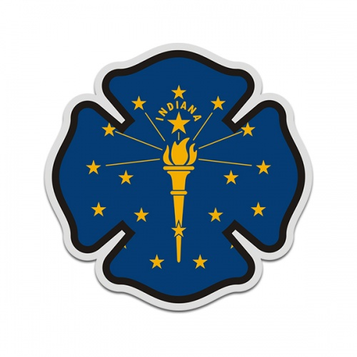 Indiana State Flag Firefighter Decal IN Fire Rescue Maltese Cross Sticker