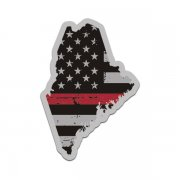 Maine State Thin Red Line Decal ME Tattered American Flag Sticker