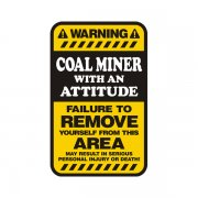 Coal Miner Warning Yellow Decal Mining Vinyl Hard Hat Window Sticker
