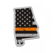 Alabama State Thin Orange Line Decal AL Tattered American Flag Sticker