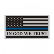 Thin Blue Line In God We Trust American Subdued Flag Decal Sticker (RH) V3
