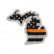 Michigan State Thin Orange Line Decal MI Tattered American Flag Sticker