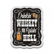 Drinkin' Whiskey & Raisin' Hell Country Cowboy Sticker Decal