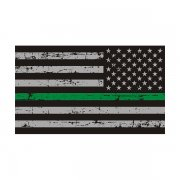 Tattered Thin Green Line American Subdued Flag Sticker Decal (LH)