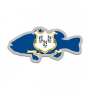 Connecticut State Flag Bass Fish Decal CT Largemouth Fishing Sticker