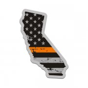 California State Orange Line Decal CA Tattered American Flag Sticker