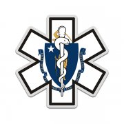 Massachusetts State Flag Star of Life MA EMT Paramedic EMS Sticker Decal