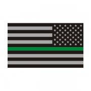 Thin Green Line American Subdued Flag Sticker Decal (LH)