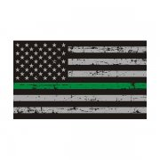 Tattered Thin Green Line American Subdued Flag Sticker Decal (RH)