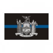 New York State Flag Thin Blue Line NY Police Officer Sheriff Sticker Decal