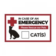 "In Case of Emergency Rescue our Cats 5""x3"" Sticker Decal"