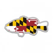 Maryland State Flag Bass Fish Decal MD Largemouth Fishing Sticker