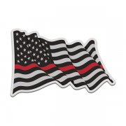 Thin Red Line American Subdued Waving Flag USA Decal Sticker (RH) V4