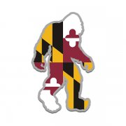 Maryland State Flag Bigfoot Decal MD Sasquatch Big Foot Sticker V2