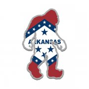Arkansas State Flag Bigfoot Decal AR Sasquatch Big Foot Sticker V2