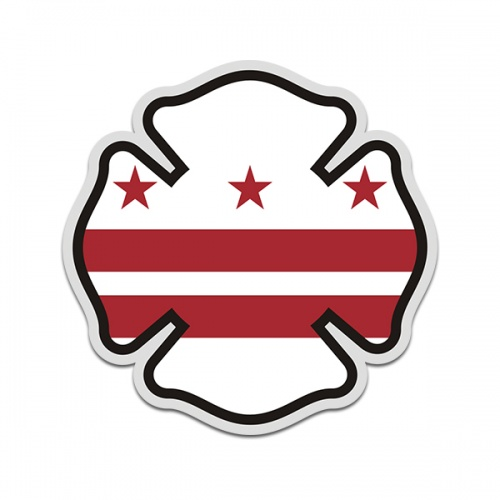 District of Columbia Flag Firefighter Decal DC Fire Maltese Cross Sticker