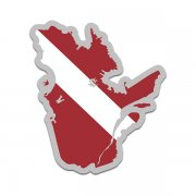 Quebec Province Shaped Dive Flag Decal Canada QC Map Vinyl Sticker