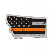 Montana State Thin Orange Line Decal MT Tattered American Flag Sticker