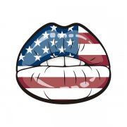 American Flag Sexy Lips Sticker Decal v2