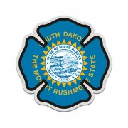 South Dakota State Flag Firefighter Decal SD Fire Maltese Cross Sticker