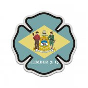 Delaware State Flag Firefighter Decal DE Fire Rescue Maltese Cross Sticker