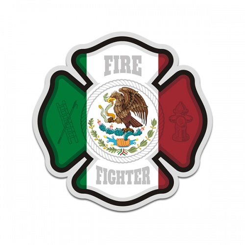 Firefighter Mexico Mexican Flag Cross Sticker Decal
