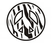 Peace Symbol Zebra Animal Skin Print Sticker Decal