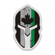 Canada Flag Thin Green Line Spartan Helmet Decal Park Warden Sticker