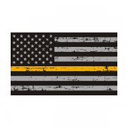 Tattered Thin Gold Line American Subdued Flag Sticker Decal (RH)