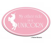Unicorn My Other Ride Is a... Pink Oval Sticker Decal