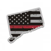 Connecticut State Red Line Decal CT Tattered American Flag Sticker