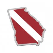 Georgia State Shaped Dive Flag Decal GA Map Vinyl Sticker