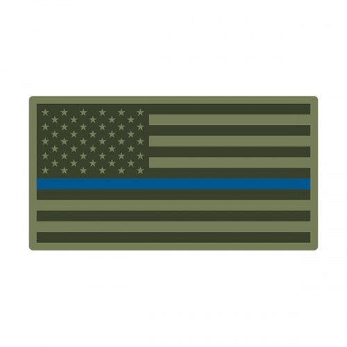 Thin Blue Line American Olive OD Green Flag USA Decal Sticker (RH) V3