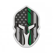 American Thin Green Line Flag Spartan Helmet Federal Military Sticker Decal V3