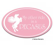 Pegasus My Other Ride Is a... Pink Oval Sticker Decal