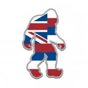 Hawaii State Flag Bigfoot Decal HI Sasquatch Big Foot Sticker V2