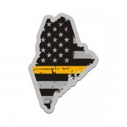 Maine State Thin Gold Line Decal ME Tattered American Flag Sticker