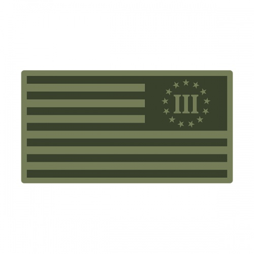 3 Percent Olive OD Green Subdued Flag Nyberg Percenter Decal Sticker (LH) V3