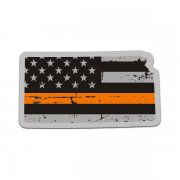 Kansas State Thin Orange Line Decal KS Tattered American Flag Sticker