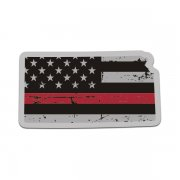 Kansas State Thin Red Line Decal KS Tattered American Flag Sticker