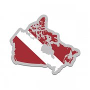 Canada Map Shaped Dive Flag Decal Canadian Map Maple Leaf Vinyl Sticker