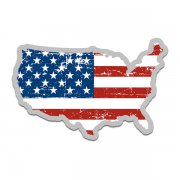 United States Flag Map American USA Sticker Decal