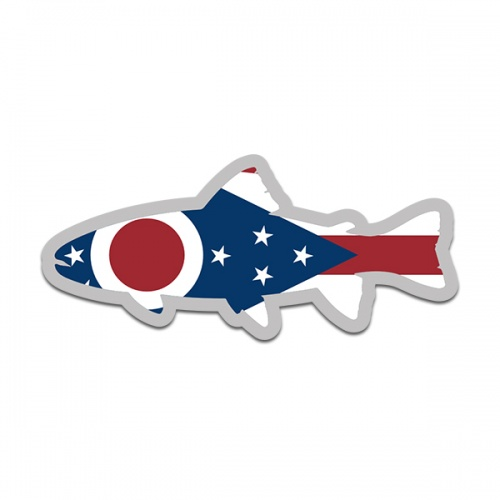 Ohio State Flag Trout Fish Decal OH Fly Fishing Sticker