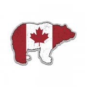 Bear Canada Flag Grizzly Kodiak Canadian Sticker Decal (RH)