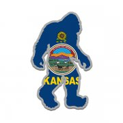 Kansas State Flag Bigfoot Decal KS Sasquatch Big Foot Sticker V2