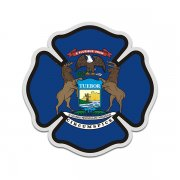 Michigan State Flag Firefighter Decal MI Fire Rescue Maltese Cross Sticker