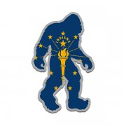 Indiana State Flag Bigfoot Decal IN Sasquatch Big Foot Sticker V2