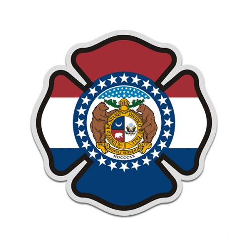 Missouri State Flag Firefighter Decal MO Fire Rescue Maltese Cross Sticker